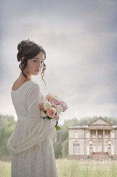 Woman In A Regency Empire Line Dress In The Grounds Of A Histori by Lee Avison