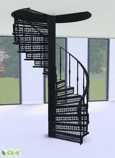 Forged steel spiral staircase by Simmami at Sims 3 Marktplatz - Sims 3 Finds