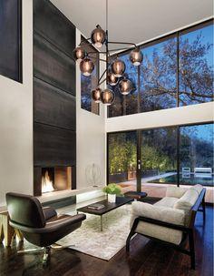 "Troy Lighting F4298 Carbide Black and Polished Nickel Odyssey 54.5"" Tall 9 Light Pendant with Plated Smoked Glass Shades - LightingShowplace.com Mid Century Modern Design, Modern House Design, Modern Interior Design, Modern Decor, Interior And Exterior, Modern Foyer, Modern Style Homes, Troy Lighting, Chandelier Lighting"