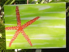 For graduation guest book, hand painted star fish on wrapped canvas. Background done in turquoise, starfish in coral pink. Buy paint sharpies in white, pink, silver, dark blue, for signing names.