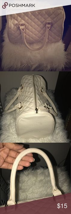 Cream Quilted Bag Forever 21, Cream Quilted Bag, Inside zippered pocket and two side pockets, small spot on handle, probably wipes off. Not really used but a few times. Forever 21 Bags Satchels