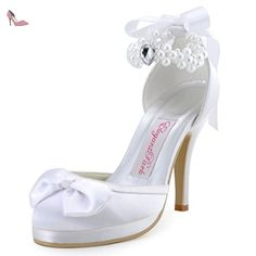 Elegantpark EP11074-PF Satin Femme Aiguille Talon Pompes Noeuds Perle Ruban  Bride Cheville Chaussures a 913fa5339066