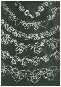 Vintage 1940s Six Handkerchief or Linen Edging Tatting Pattern PDF 4625.  via Etsy.