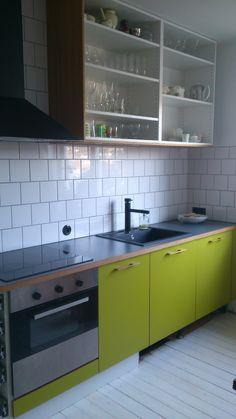 Retro kök, lime grönt laminat, VIRVEL bänkskiva