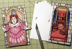 Fat Lady from Harry Potter Articulated Paper Doll - Opens to Reveal Gryffindor Common Room