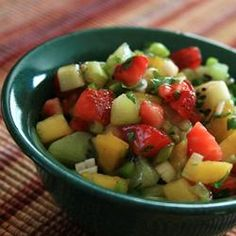 Spicy Strawberry Kiwi Peach Salsa from @Allrecipes.com. Great with fish! Repinned by @skinnyonlowcal.