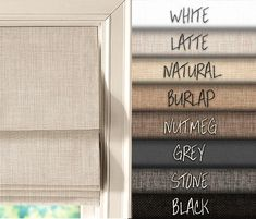*PLEASE SEE BELOW ON HOW TO PURCHASE* Custom made linen look flat roman shades - made to order, including all hardware for installation and blackout lining (unless otherwise requested), up to 60 wide. For fabric samples: Farmhouse Window Treatments, Window Treatments Living Room, Living Room Windows, Large Window Treatments, Modern Window Coverings, Living Room Blinds, Bedroom Blinds, Roman Blinds, Curtains With Blinds