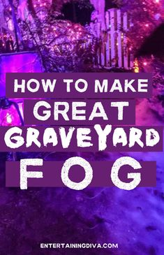Learn how to make low lying fog that will have your Halloween graveyard or party looking spooky in no time. This DIY fog machine chiller does not use dry ice so it is really simple to make. | Yard Haunt Dry Ice Halloween, Halloween Yard Art, Halloween Outside, Halloween Graveyard, Spooky Halloween Decorations, Halloween Scene, Outdoor Halloween, Halloween Stuff, Halloween Party