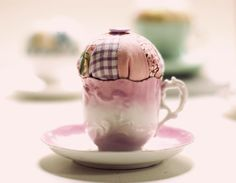 Vintage Teacup Pincushion with patchwork top and vintage button - pink and lilac