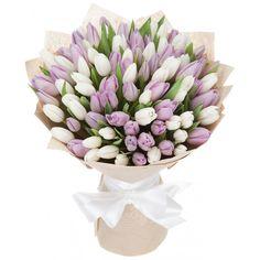 Купить букет из 51 тюльпана (белый и сиреневый) за 3990 руб - DAFLORA