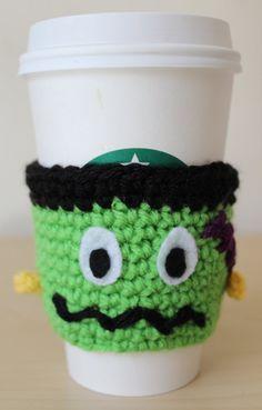 Frankenstein Coffee Cozy Halloween Crochet by MsAmandaJayne Crochet Coffee Cozy, Crochet Cozy, Love Crochet, Halloween Crochet, Halloween Crafts, Yarn Projects, Crochet Projects, Crochet Kitchen, Craft Sale