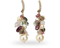 Zoccai 18 ct. red gold earring with 36.20 ct. of fume' quartz, tourmaline and 0.10 ct. of diamond $1260