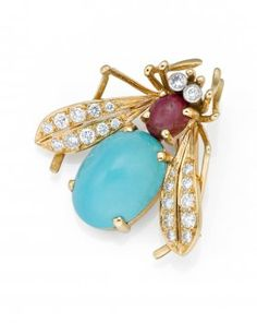 A Turquoise, Ruby And Diamond Insect Brooch, Van Cleef