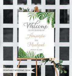 Tropical Wedding Sign. Printable Wedding Welcome Sign. Reception Sign. Calligraphy Sign. Palm Welcome Sign. Wedding Ceremony Sign.