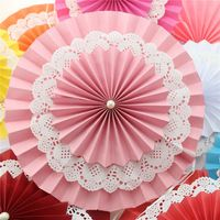 Free Shipping 20pcs 8'' 20cm Pink Paper Fans Rosettes Decorations for Girl Baby Shower Birthday Party or Wedding Backdrop