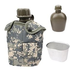 ICYPROSHOP 3 In 1 1L Outdoor Military Camouflage Water Bottle * Read more reviews of the product by visiting the link on the image.