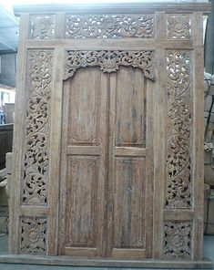 Large Recycled Teak Hand Carved Balinese Doors Whitewash
