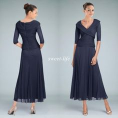 2015 Cheap Mother of the Bride Dresses Navy Blue With Half Sleeves Tea Length V-Neck Custom Formal Dress Wedding Party Groom Mother Dress Online with $95.38/Piece on Sweet-life's Store   DHgate.com