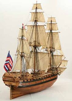 Tall ship model USS Bonhomme Richard of The ship commanded by Paul Jones got famous when she took the English frigate HMS Serapis as a prize after in 1779 Model Sailboats, Model Warships, Model Sailing Ships, Model Ship Building, Scale Model Ships, Wooden Ship, Submarines, Tall Ships, Battleship