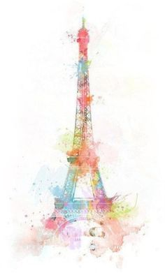 Pencil and Watercolor Eiffel Tower