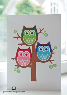 6/25/2012; Irene at 'Pass it on' blog; a family of owl bookmarks; downloadable card and bookmarks for this adorable family; English translation available