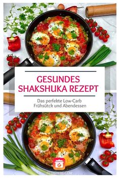 Gesundes Shakshuka - Mein gesundes Shakshuka Rezept, ein leckeres gesundes Abendessen! Shakshuka ist Low-Carb und super lecker und ein super Low-Carb Abendessen! Low Carb, Super, Veggies, Ethnic Recipes, Food, Fitness, Gourmet, Shakshuka Recipes, Cooking Recipes