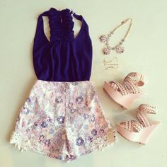 Flowery shorts and high wedges