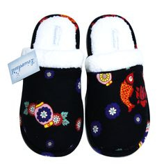 Leisureland Women's Flannel Top Cozy Slippers Turning Japanese Koi Print Black => Save this wonderfull product : Women's Shoes