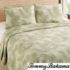 @Overstock.com - Tommy Bahama Tossed Palm Cotton 3-piece Quilt Set - Prewashed for extra softness, this Tommy Bahama quilt features a soothing tropical floral pattern. Filled with a soft cotton/poly blend and a cotton exterior, the set is machine washable.  http://www.overstock.com/Bedding-Bath/Tommy-Bahama-Tossed-Palm-Cotton-3-piece-Quilt-Set/8477619/product.html?CID=214117 $79.99