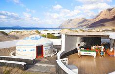 Terraza chill out bungalow con piscina privada