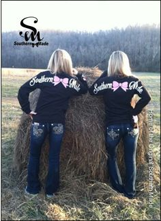 Our Long Sleeve Glitter Bow T-Shirt. The additional of the Shimmering Bow take this already popular shirt to the next level. An adorable Cute N Country, Country Girls, Country Wear, Country Life, Country Fashion, Country Outfits, Long Sleeve Tee Shirts, Down South, Southern Belle