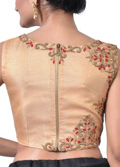 Gold Tissue Brocade with Embroidery Designer Blouse - BL2008 | Indian Silk House Agencies
