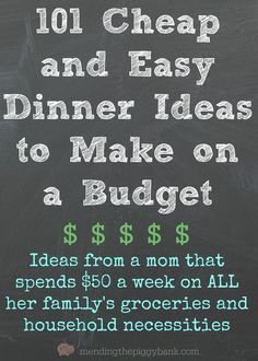 101 Cheap and Easy Dinner Ideas to Make on a Budget -- Are you tired of swinging open the refrigerator door after a long, hard day having no clue what you actually want to make for dinner? Unsure of what to make when you're on a budget as well? Well, I hope to have two solutions for you today! Check out '101 Cheap and Easy Dinner Ideas to Make on a Budget' and let me know what some of YOUR favorite inexpensive meals are to make.