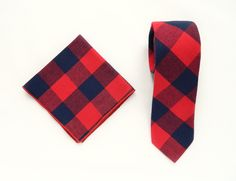Navy red plaid tie pocket square wedding tie gift for men navy red plaid tie groomsmen uk by TheStyleHubTrends on Etsy