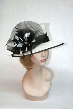 New Church Kentucky Derby Off White Ivory Black Sinamay Dress Hat | eBay