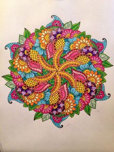 Colored Mandala 2 from Adult Coloring Book; $8.99 http://www.amazon.com/gp/product/1518796397