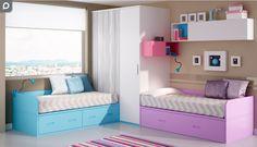 Habitación juvenil con dos camas nido.