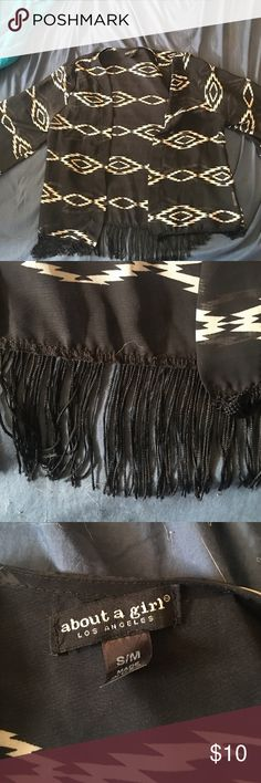 Super cute shrug! Black and white Aztec print with fringe! Sweaters