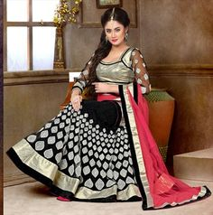 167759 Black and Grey  color family Mehendi & Sangeet Lehenga in Net fabric with Border, Patch, Resham, Stone, Zari work .
