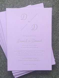 David and David – letterpress wedding invitation. Grey ink on lavender Colorplan heavy card. Custom wedding stationery designed and letterpress printed in-house on an antique printing press with love and care. Modern Wedding Stationery, Luxury Wedding Invitations, Letterpress Wedding Invitations, Letterpress Printing, Custom Map, Printing Press, Stationery Design, Custom Design, Lavender