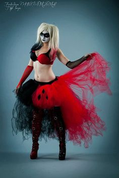 Harley Quinn Adult tutu skirt Wedding Formal bustle trail bridal trashy cosplay dance costume -- You Choose Size -- Sisters of the Moon