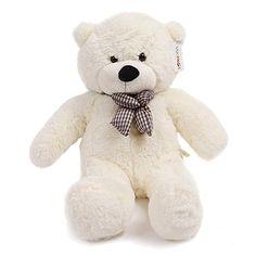 YunNasi Peluche Nounours Blanc de 120cm Géant Grosse Bébé Cadeau Anniversaire Fête Doux Jouet Enfant