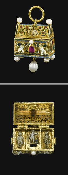 GERMAN, LATE 16TH/ EARLY 17TH CENTURY, PENDANT IN THE FORM OF A BETROTHAL CASKET, inscribed in the lid: QVOS DEVS CONIVNXIT HOMO NE SEPARET and monogrammed: TMHC and MVGIE, partially enamelled gold set with rubies, emeralds and later pearls, overall: 4.5 by 2.5 by 1.5cm., 1¾ by 1 by  5/8 in. by repute the Albertine Wettin family, Electors and Kings of Saxony, Halle, Germany.