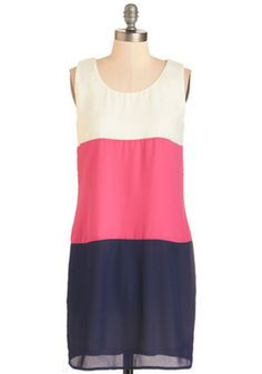 ModCloth Colorblocking Mid-length Sleeveless Shift Trio Me, Oh My! Dress
