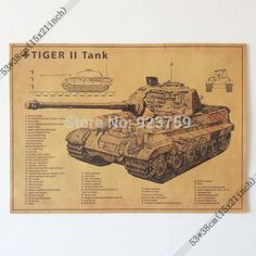 Special price German Tiger II Tank Vintage Home Wall Decoration Poster 21x15 Inch(53*38cm)paper Poster just only $4.19 with free shipping worldwide  #wallstickers Plese click on picture to see our special price for you