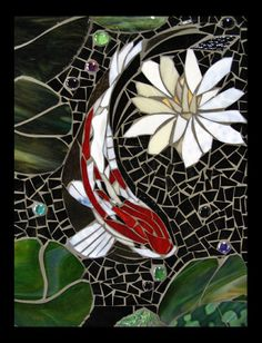 mosaic black koi panel for sale, large image