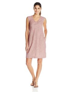 Royal Robbins Women's Trolley Stripe Dress, Black Cherry, X-Small. Peek-a-boo back neck. Garment washed. V-neck with darting. Center front & back seams. Drop-in side seam pockets.