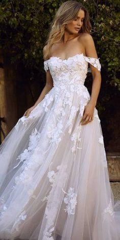 Dream Wedding Dresses Ball Gown Popular 2019 Summer Beach Wedding Dresses Off The Shoulder A-line Lace Tulle Bridal Gowns.Dream Wedding Dresses Ball Gown Popular 2019 Summer Beach Wedding Dresses Off The Shoulder A-line Lace Tulle Bridal Gowns Wedding Dress Trends, Best Wedding Dresses, Wedding Ideas, Wedding Inspiration, Blush Lace Wedding Dress, Off Shoulder Wedding Dress Bohemian, Modest Wedding, Rustic Wedding, Wedding Simple