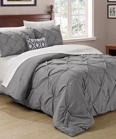 Cathay Home Gray Pin Tuck Comforter Set