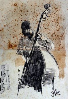 "Saatchi Art Artist Loui Jover; Drawing, ""study of jazz bass man"" #art"